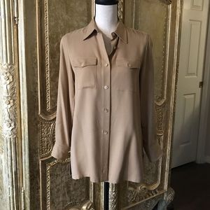 LAUREN by Ralph Lauren Petite 100% silk shirt